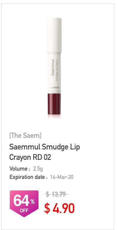 The Saem Saemmul Smudge Lip Crayon RD 02